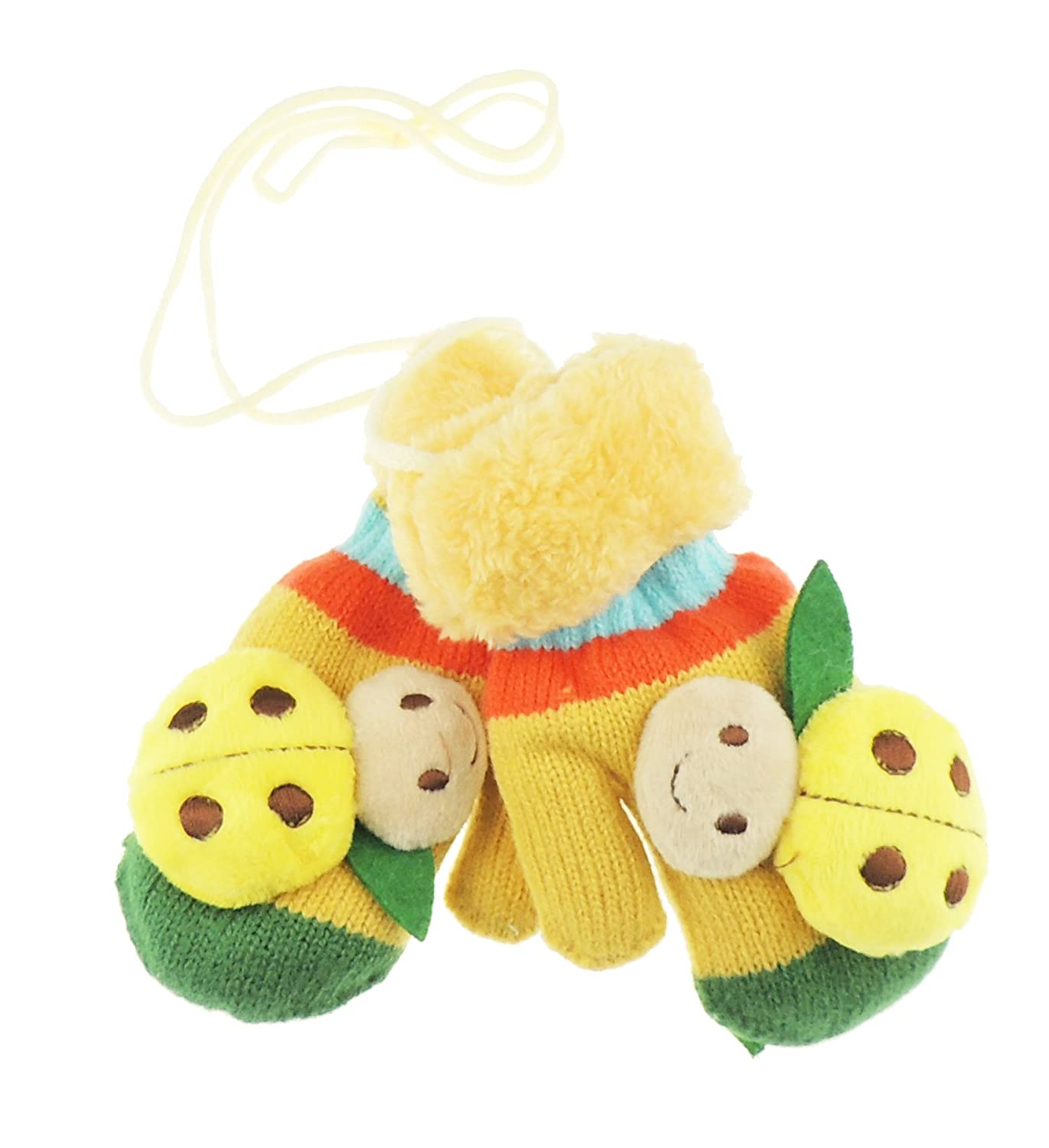 Adorable Super Soft Baby Girls Boys Warm Winter Lady Bug Ladybird Mittens 1-2 Years Yellow
