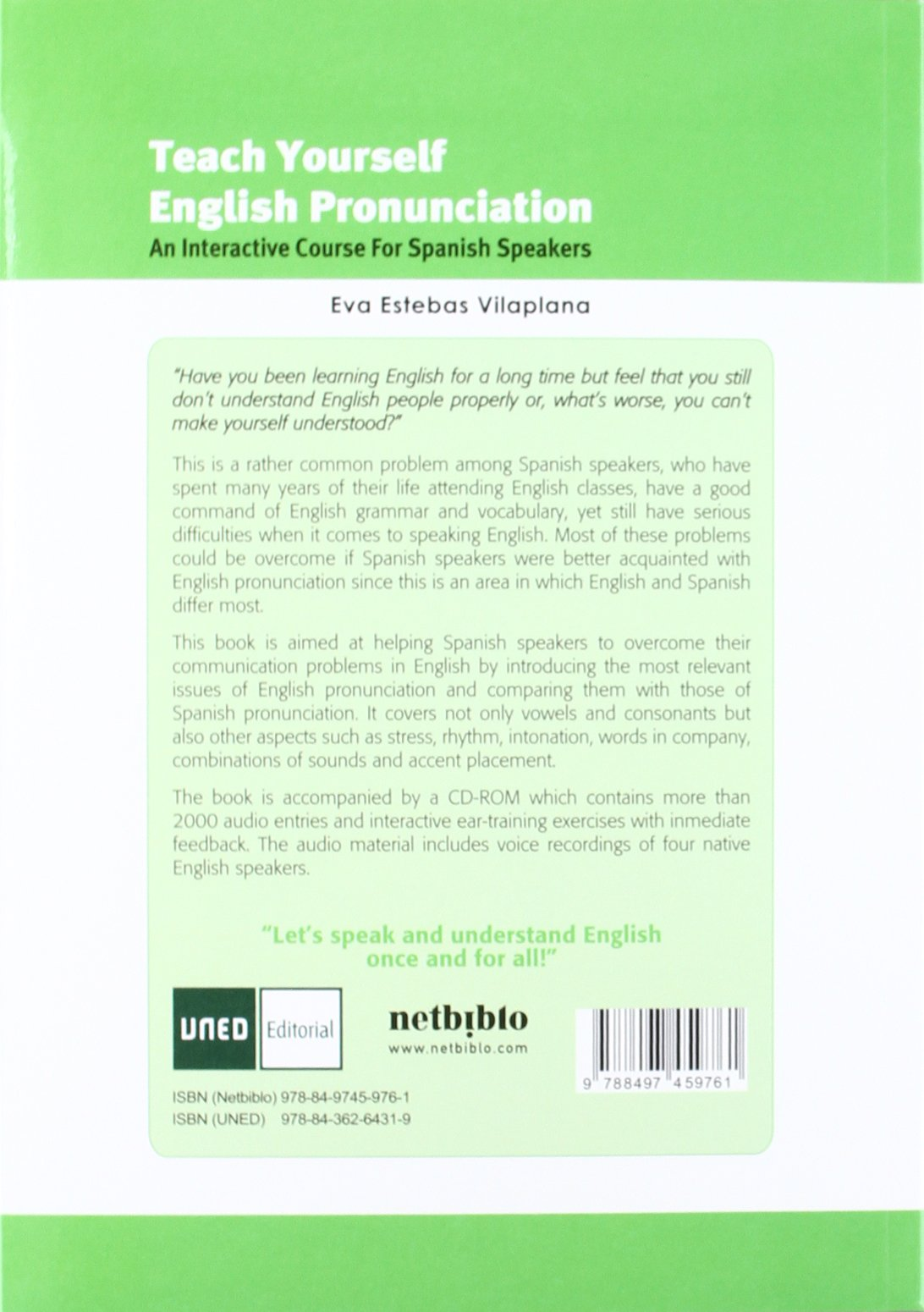 Teach Yourself English Pronunciation Cd 2ªed 9788497459761 Eva Estebas Vilaplana Books
