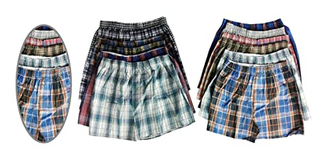 2e50cf40a12cea Image Unavailable. Image not available for. Colour: 12 Pack Mens Woven  Check Print Poly Cotton Boxer Shorts ...