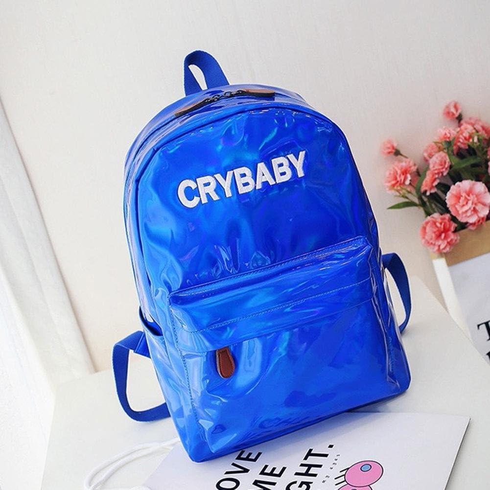 Street Preppy Men//Women Backpack Hologram Laser Boy Girl Schoolbag//Blue
