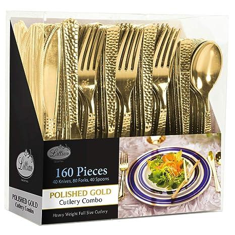 Amazon.com: 160 piezas de cubiertos de plástico dorado ...