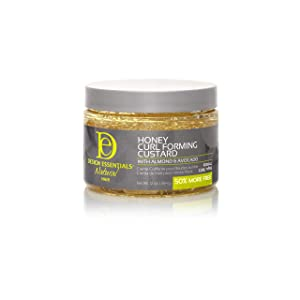 Design Essentials Natural Honey Curl Forming Custard infused with Almond, Avocado, Honey & Chamomile for Intense Shine, Medium Hold and Definition, 12 Fl Oz.
