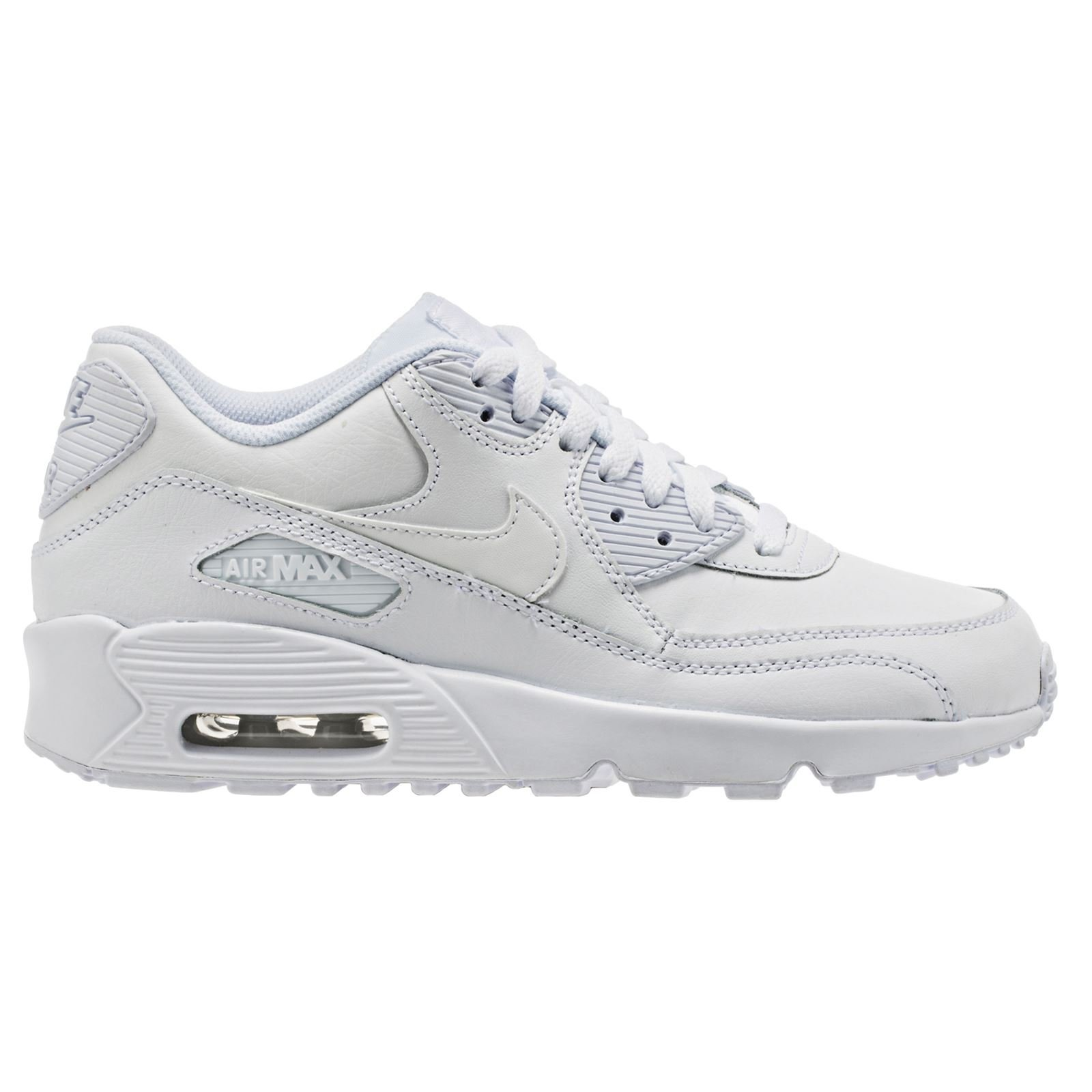 NIKE Air Max 90 LTR (GS) Boys Running-Shoes 833412 (3.5 M US Big Kid, White/White)