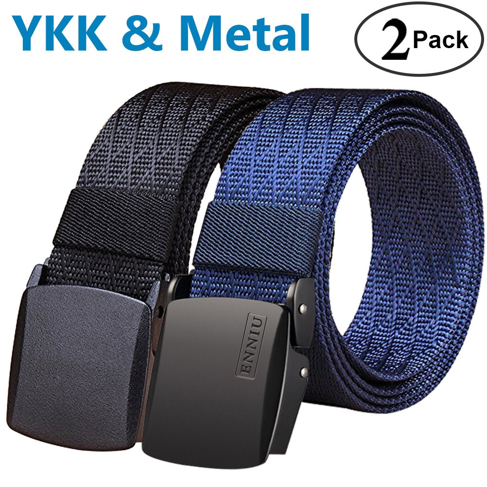 Fairwin Men's Tactical Nylon Web Belt with YKK Plastic Buckle and Metal Buckle. 2 Pack, Black and Blue by Fairwin (Image #1)