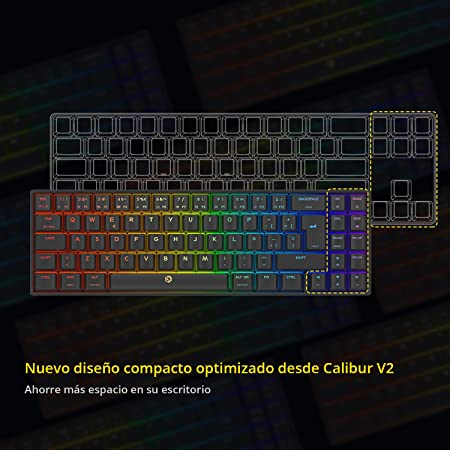 DREVO Calibur V2 TE Cherry MX Azul RGB 60% Teclado Mecánico para Juegos, Distribución QWERTY Españo, Compacto de 72 Teclas, Compatible con PC/Mac, USB ...
