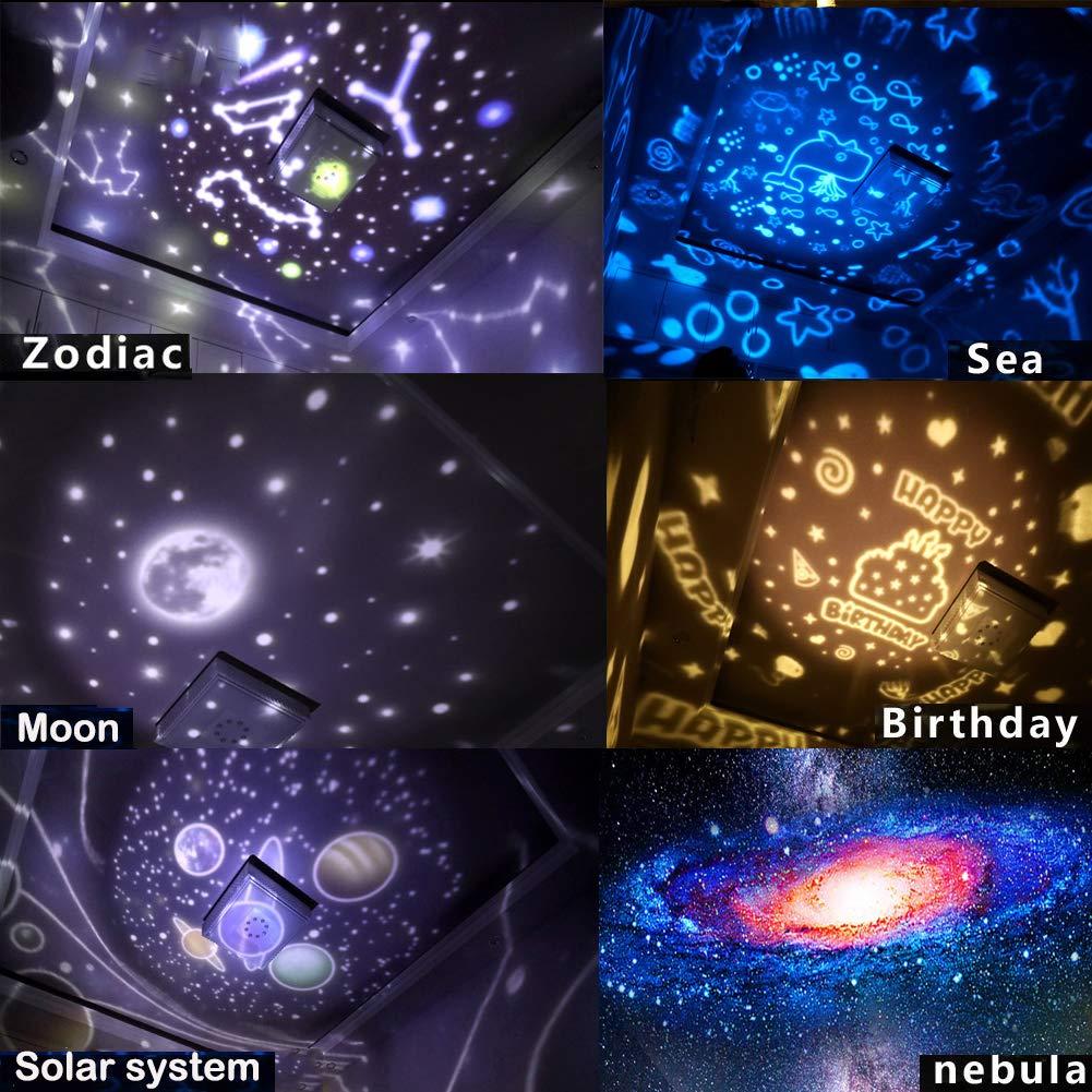 Lampara proyector estrellas bebe Lampara proyector infantil rotaci/ón de 360 grados luz nocturna infantil Proyector estrellas techo con cable USB proyector luz bebe