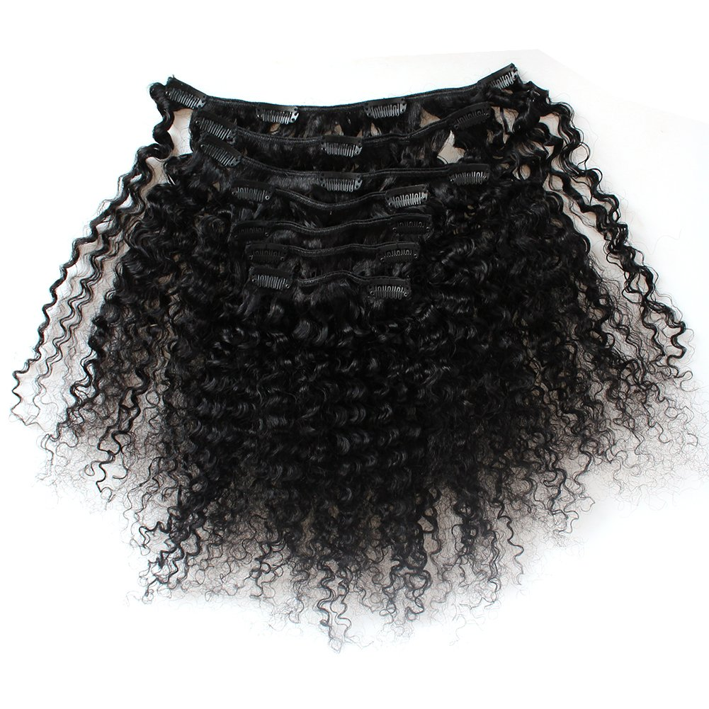 ZigZag Hair Afro Kinky Curly 3B 3C Clip in Hair Extensions for Black Women Peruvian Virgin Human Hair Clip Ins Natural Color (12inch, 3B 3C) by ZigZag Hair (Image #2)