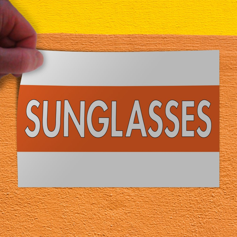 27inx18in Decal Sticker Multiple Sizes Sunglasses #1 Business Sunglasses Outdoor Store Sign White Set of 5