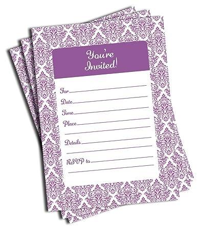 amazon com 50 purple damask invitations and envelopes large size