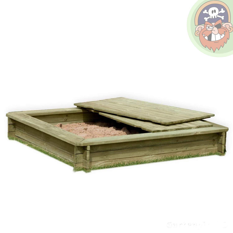 Sandkasten 180 x 180 cm aus Holz 30 mm imprägniert mit Deckel von Gartenpirat®
