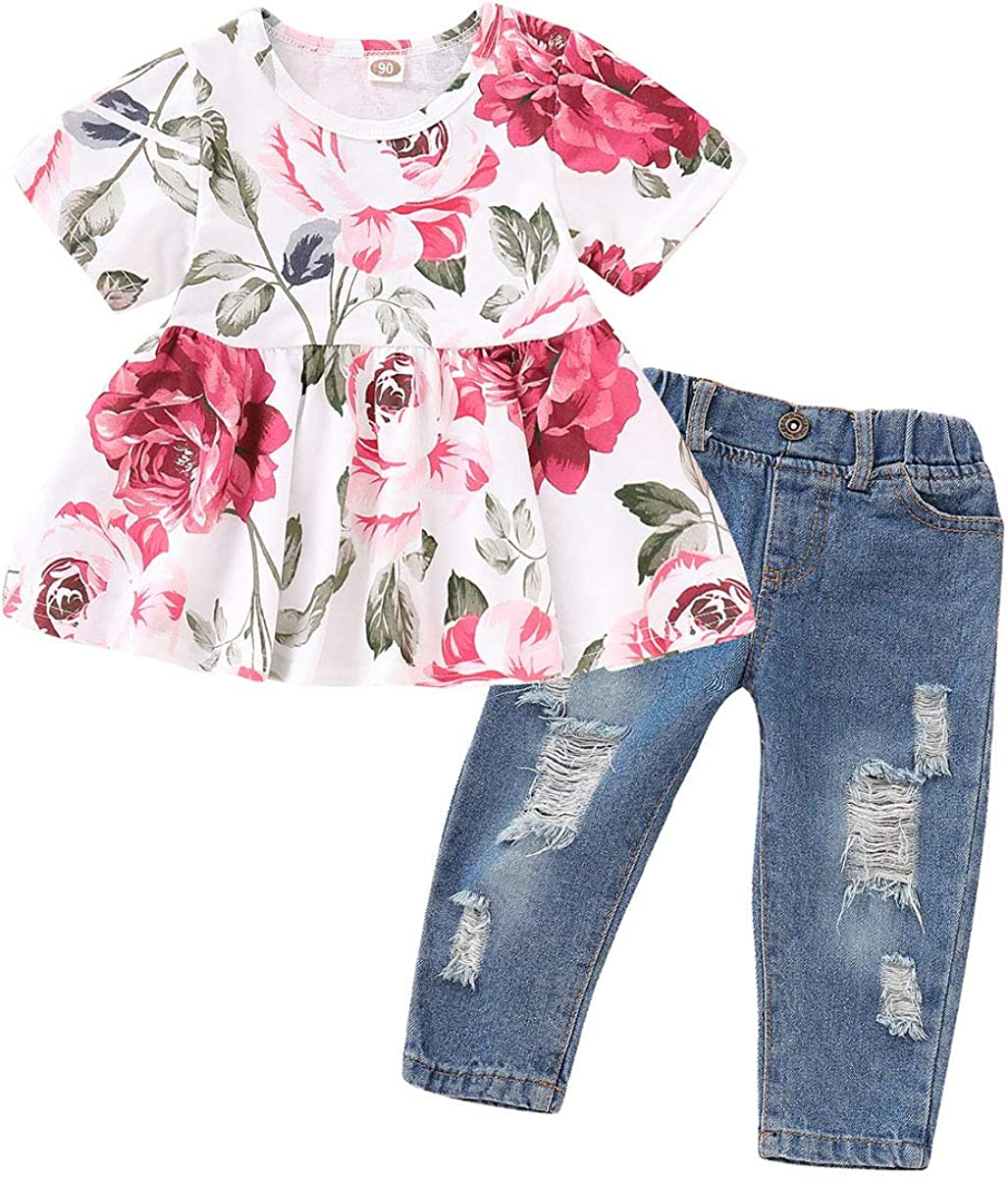 Toddler Baby Girls Clothes Floral Ruffle T-Shirt+ Ripped Jeans Denim Pants Outfits Sets