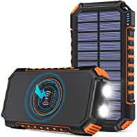 Hiluckey Cargador Solar 26800mAh Power Bank Portátil Inalámbrico con 4 Outputs Power Bank con USB C Carga Rápida para…
