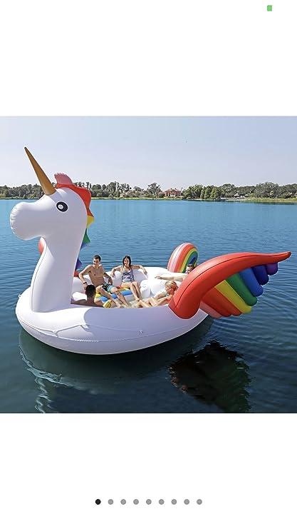 Sun Pleasure Giant Inflatable Unicorn Party Island (6 Person, Unicorn)