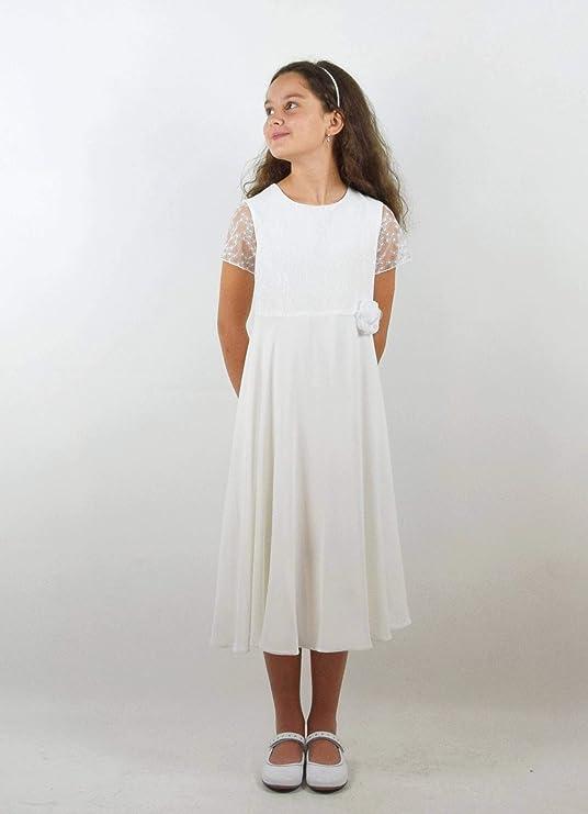 5eefb35f37fe Verasposa® Courte robe de communion Nora avec dentelle fille simple ecru  ivoire