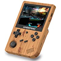MJKJ RG351V Handheld Game Console , Open Source System Built-in WiFi Online Sparring 64G TF Card 2500 Classic Games Support PSP / PS1 / N64 / NDS , 3.5inch IPS Screen Retro Game Console(Wood Grain)