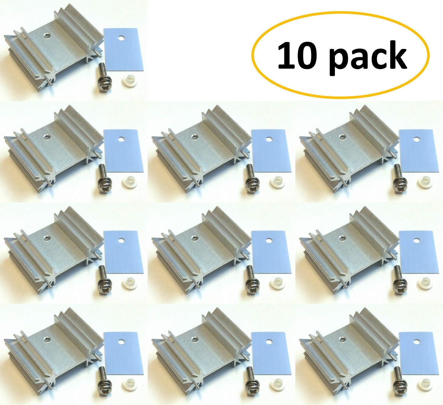for LM78XX Voltage Regulator Insulator//Mounting Kits Easycargo TO-220 Heatsink MOSFET Transistor Silver 10 Pack Screw+Washer+Bushing+Insulator Rubberized Silicone+ Heatsink TO-220