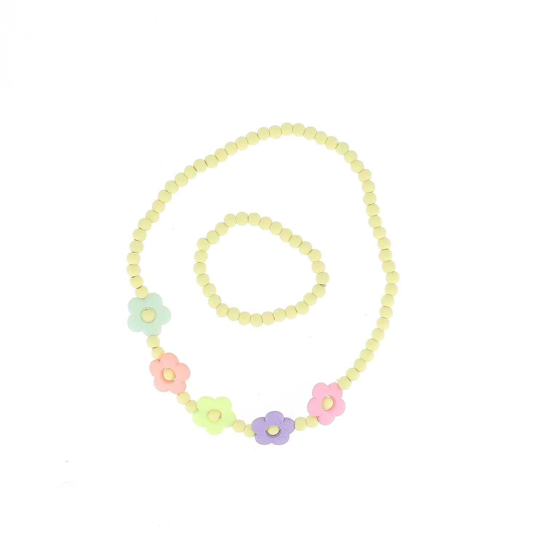Bijoux Petite Fille Multicolore Perles /& Fleurs Parure Bijou Enfant en Plastique Collier et Bracelet Elastique