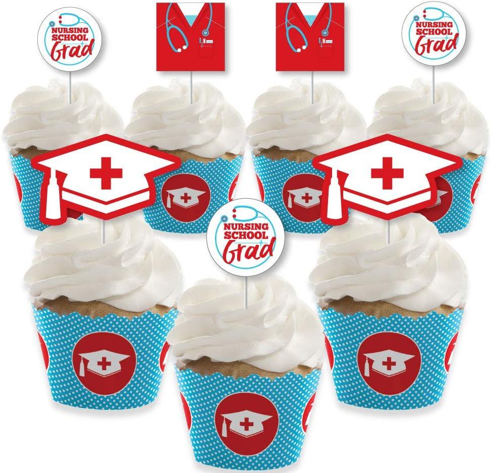 Big Dot of Happiness Nurse Graduation - Cupcake Decoration - Medical Nursing Graduation Party Cupcake Wrappers and Treat Picks Kit - Set of 24