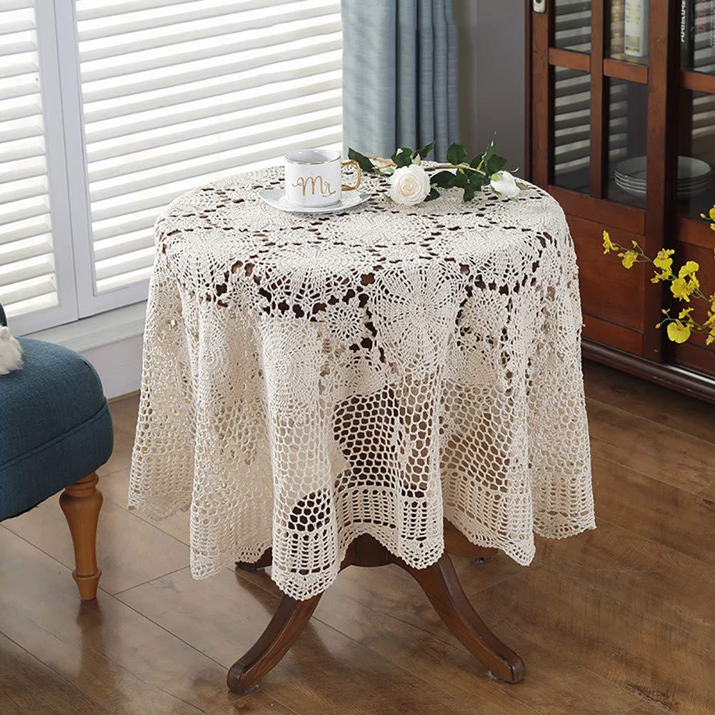 コットンレースのかぎ針編みのテーブルクロス, 手作りヴィンテージ長方形ラウンドテーブルカバードイリー家の装飾のための-ベージュ 150x220cm 150x220cm ベージュ B07S52CNY6