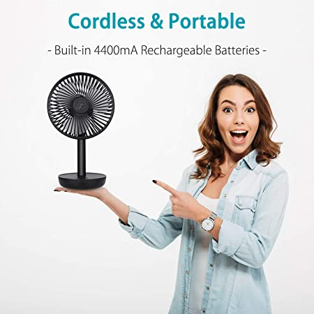 SkyGenius 7 Inches Oscillating Table Fan, Battery Operated 4400mA USB Powered Small Rotating Desk Fan, Portable Personal Fan for Home Office Camping