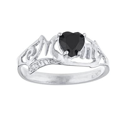 204a12c778359 Amazon.com: Genuine Black Onyx & Diamond Heart Mom Ring .925 ...