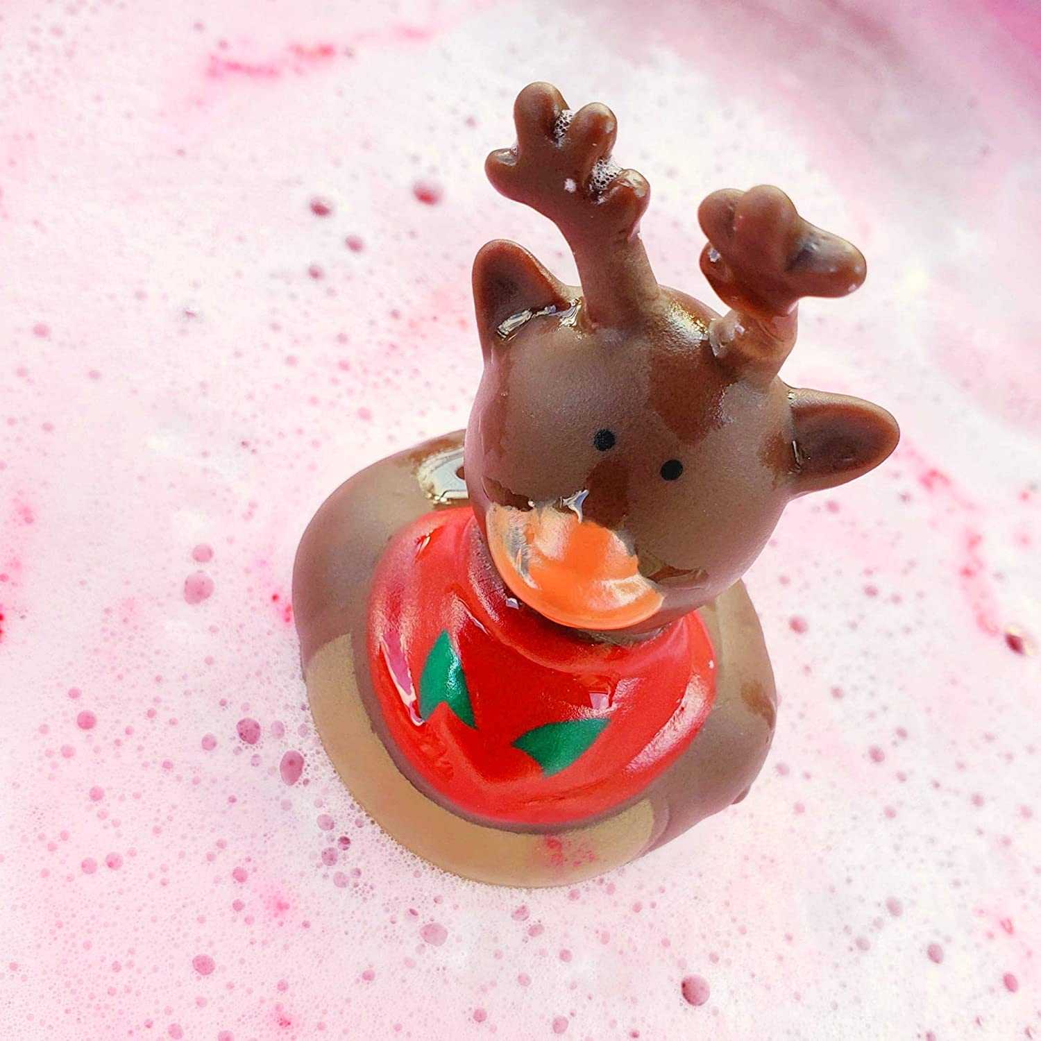 Red Bath Bomb for Kids Early Christmas Gift Stocking Stuffer for Boys and Girls 7oz Reindeer Games Bath Bomb with Rubber Duck Candy Cane Scent
