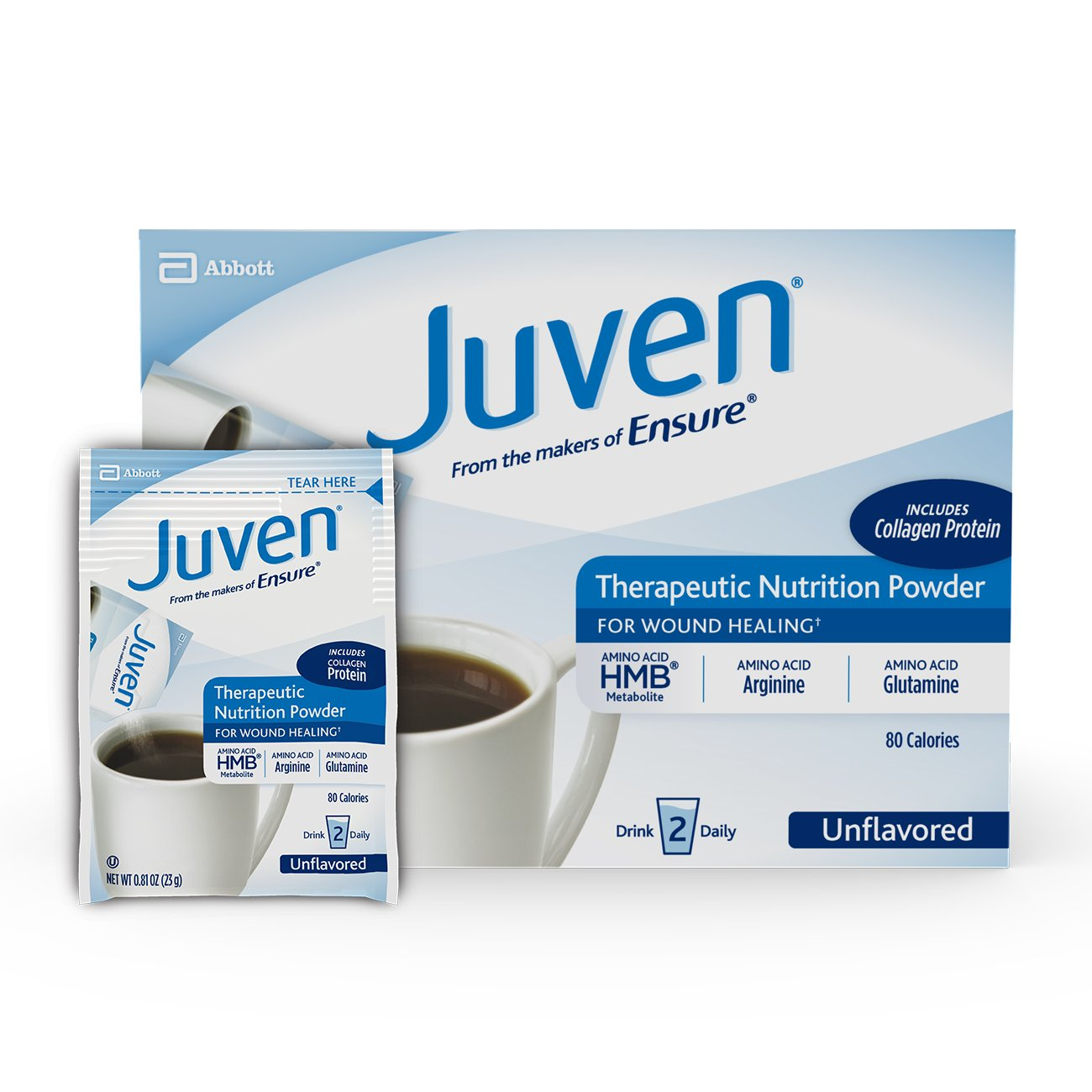 Juven Therapeutic Nutrition Drink Mix Powder for Wound Healing Includes Collagen Protein, Unflavored, 30 Count by Juven