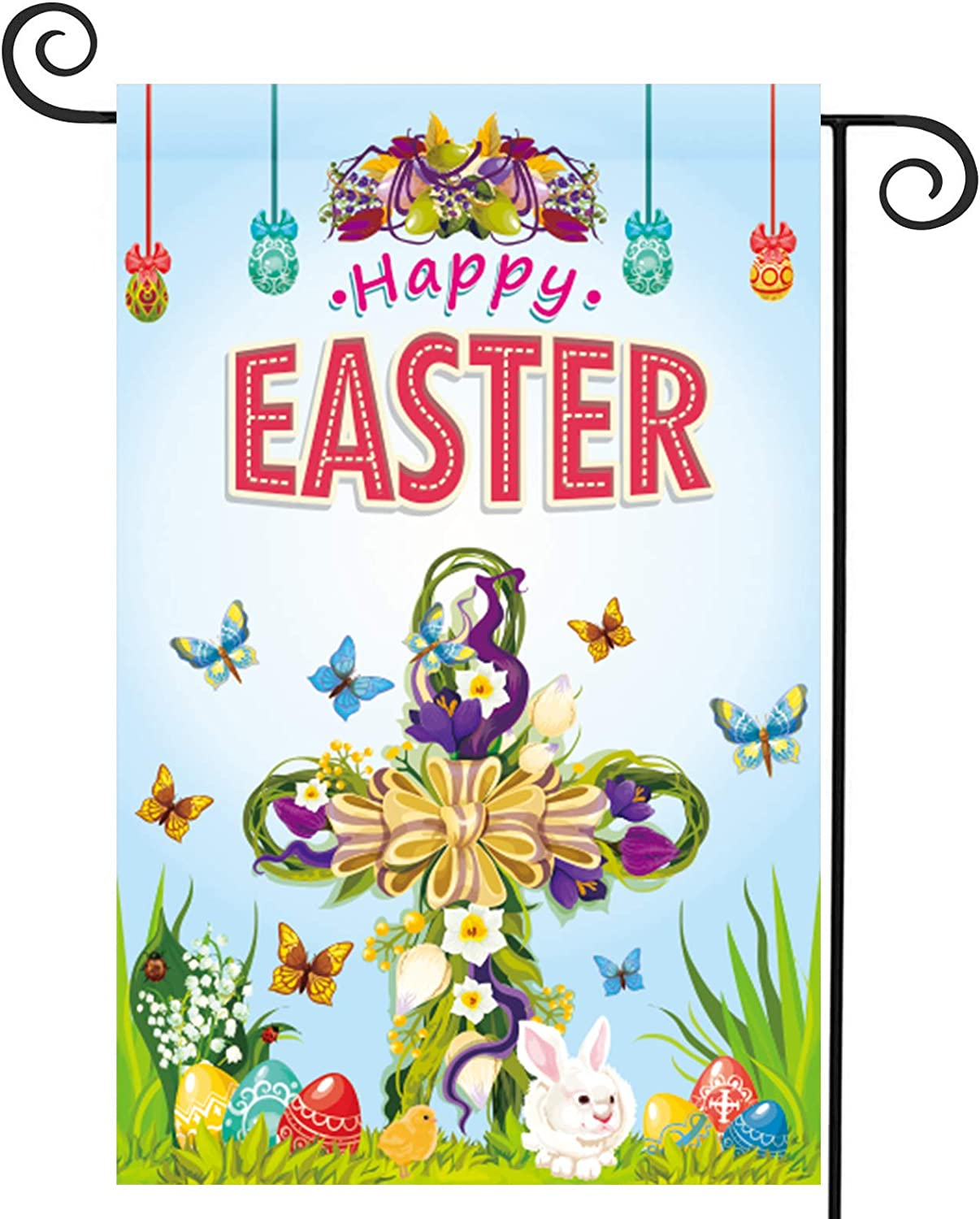beitony Happy Easter Garden Flag 12 x 18 Inches Happy Rabbit Vertical Double-Sided Polyester Cloth Outdoor Decor Perfect Decoration for Easter Party Home Farm & Good Gift for Kid (hh-02-hyq)