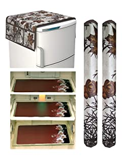 Unique Productions Fact core Fabric Combo of Leaf Refrigerator Cover with 2 Handle Cover and 3 Fridge Mats , Standard Size, Multicolour -Set of 6 Pieces