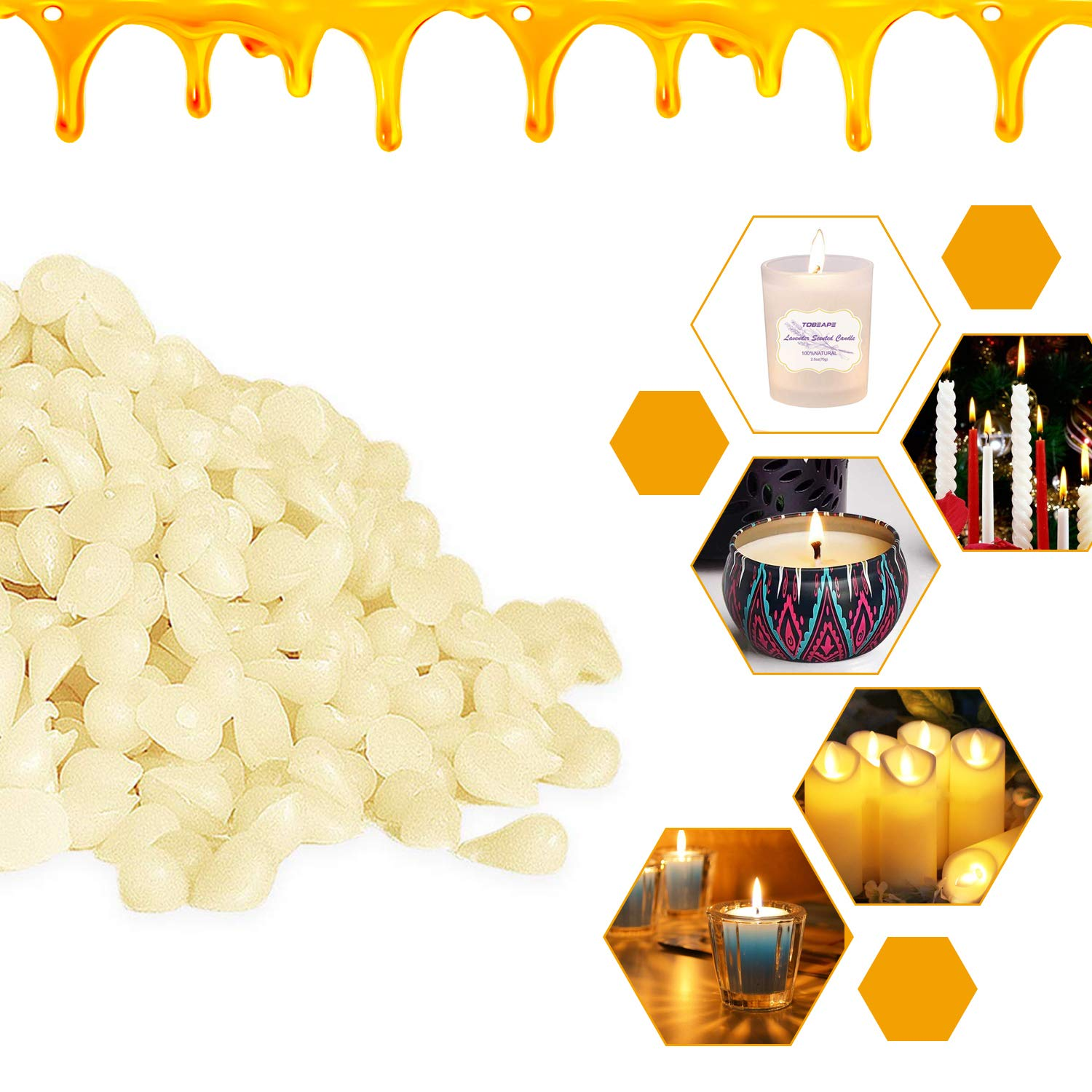 Tobeape White Beeswax Pellets 10LB 100/% Pure and Natural