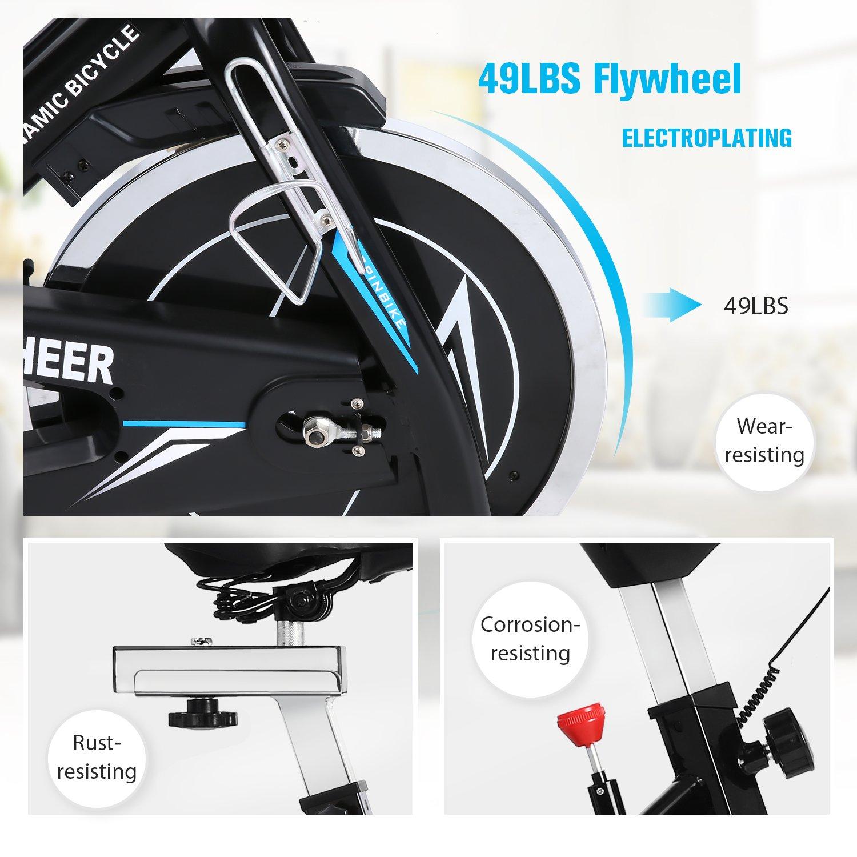 ANCHEER Indoor Cycling Bike, Belt Drive Indoor Exercise Bike with 49LBS Flywheel (Black) by ANCHEER (Image #3)