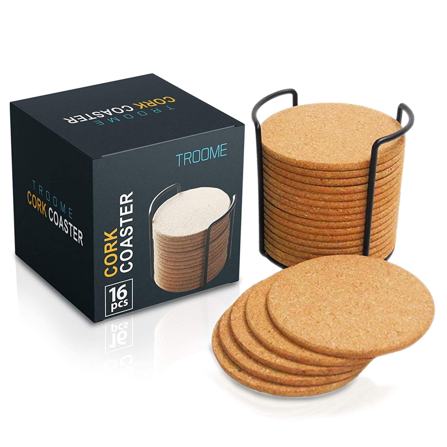 Cork Coasters Natural Absorbent Drink Table Blank Coasters Circles Set Of 16 With Metal Holder Storage Caddy