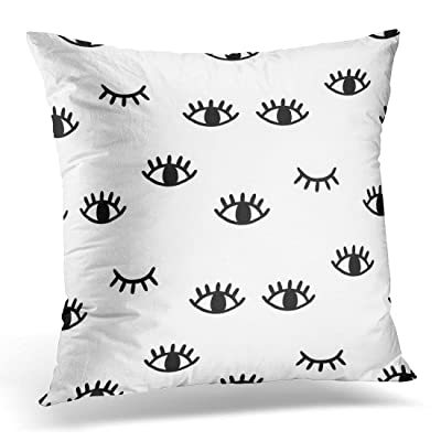 SPXUBZ Black Wink with Open and Winking Eyes White Close Minimal Decorative Home Decor Square Indoor/Outdoor Pillowcase Size: 16x16 Inch(Two Sides): Home & Kitchen