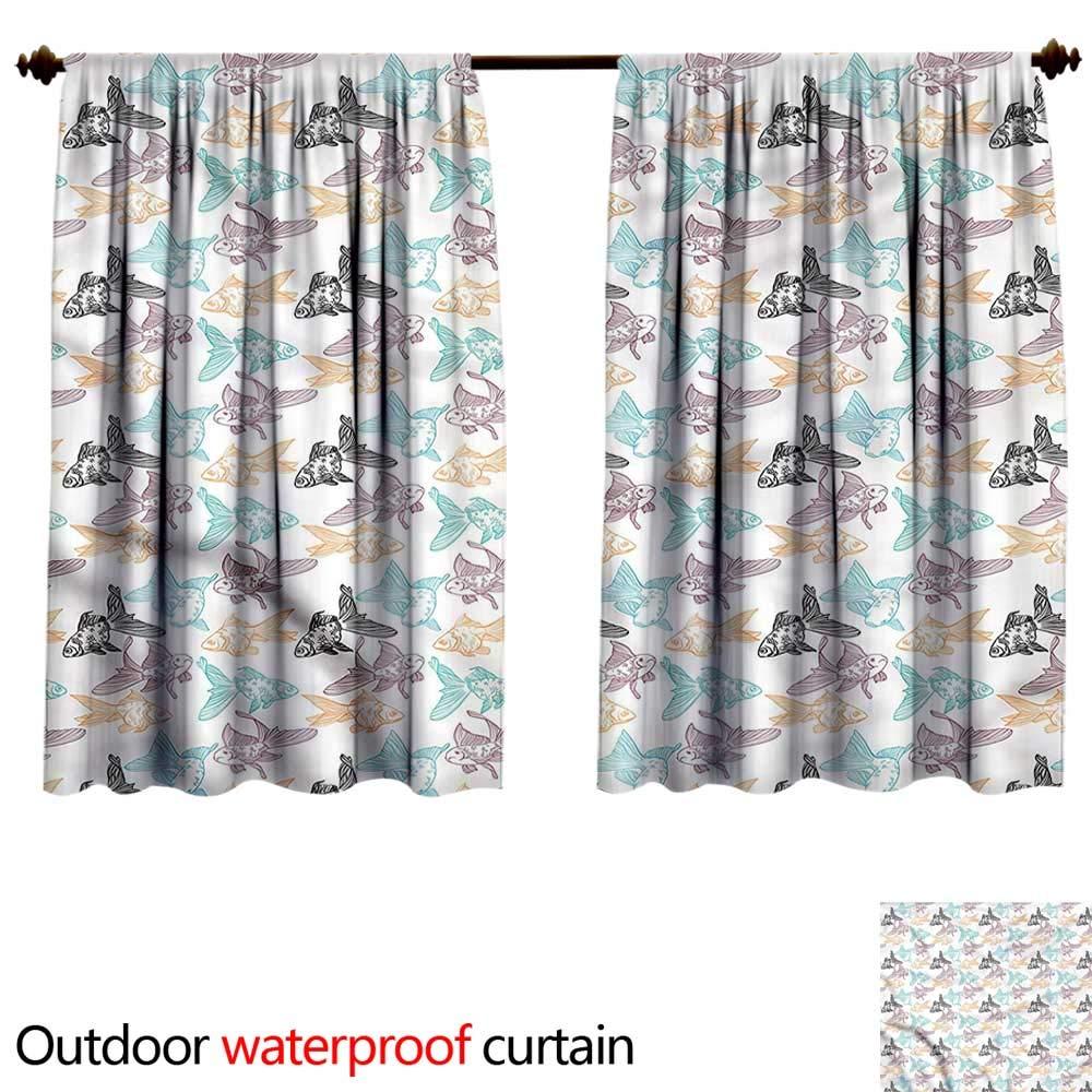 color02 W55\ color02 W55\ BlountDecor Sun Block Outdoor curtainAnti-Water W55 x L72(140cm x 184cm) Aquarium,goldfish and Perch Outline