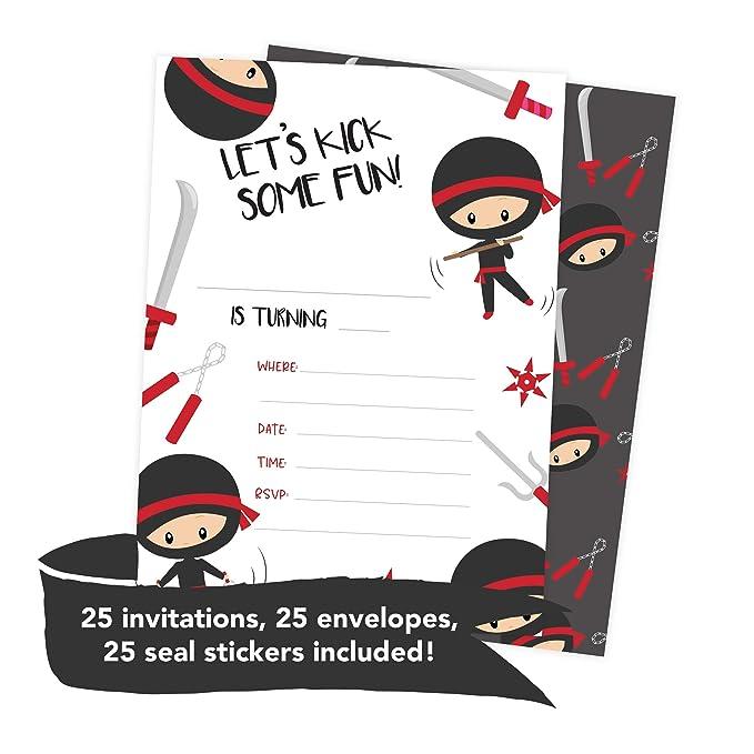 Amazon.com: Ninja Boy 3 tarjetas de invitación de cumpleaños ...