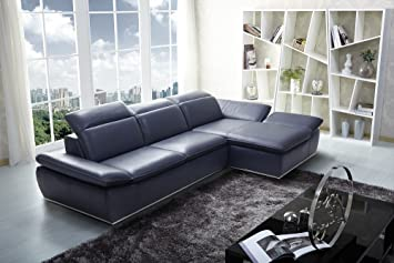 Charmant Ju0026M Furniture 1799 Full Blue Italian Leather Sectional Sofa With Adjustable  Headrests