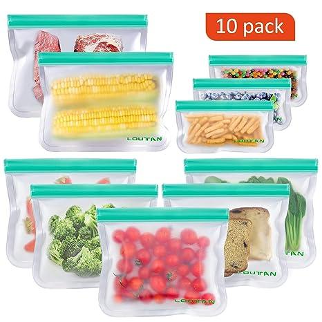 Amazon.com: Bolsas de sándwich reutilizables, paquete de 10 ...