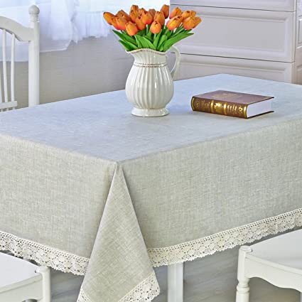 DARUITE Square Tablecloth Heavy Weight Vinyl Rectangle Tablecloth  Oil Proof/Waterproof Stain Resistant