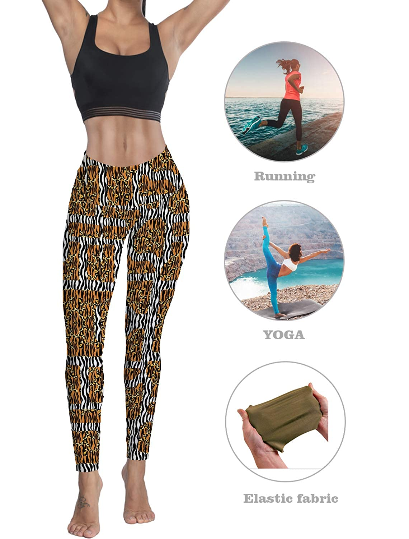 Womens High Waisted Leggings Yoga Workout Pants Animal Leopard Print