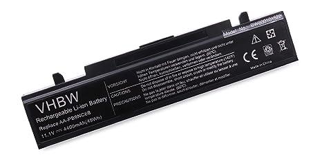 Batería Li-Ion vhbw 4400mAh (11.1V) Negra para Ordenador portátil Samsung RV410