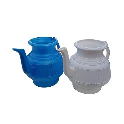 . Mayaka786 Pair of White and Blue Lota Bodna or Toilet Wash Jug