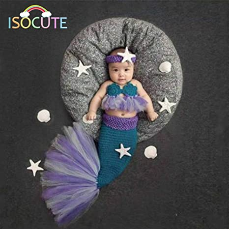 Buy Generic Elegant Lace Mermaid Newborn Baby Photo Photography Props  Infant Handmade Outfits Crochet Knit Cocoon Set Knitted baby Costume Online  at Low ... 51de6fad15eb