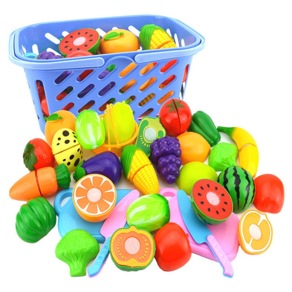 lightclub Fruit Vegetable Food Cutting Set Reusable Role Play Pretend Kitchen Toys for Kids 1