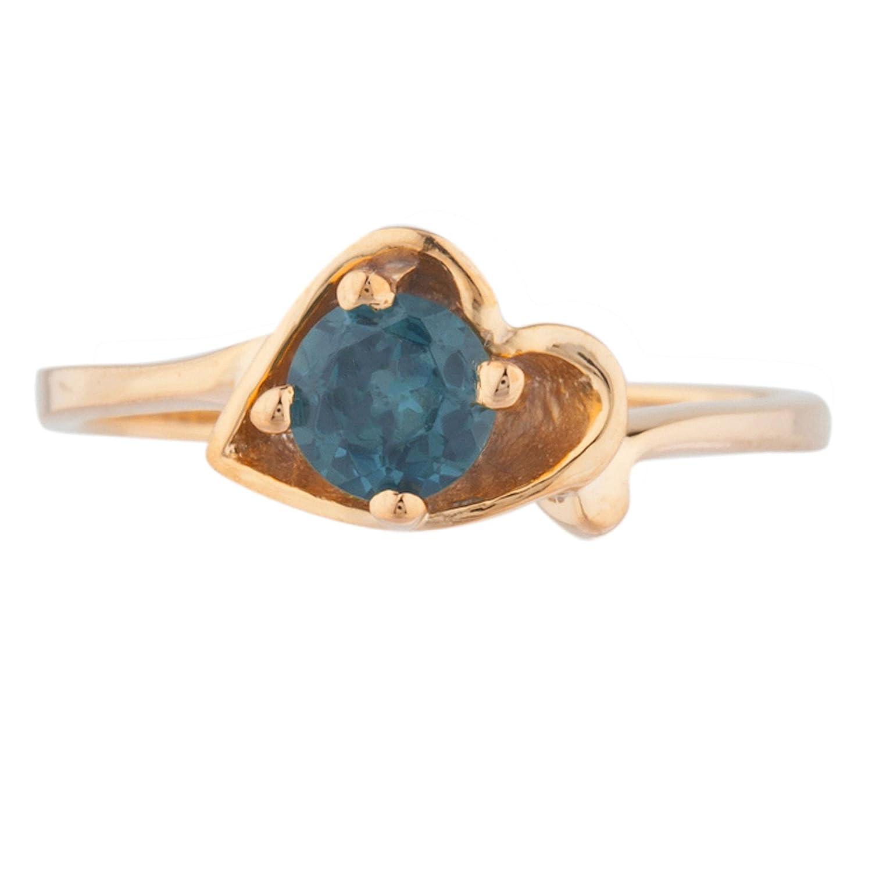 0.50 Ct Blue Topaz /& Diamond Round Ring .925 Sterling Silver