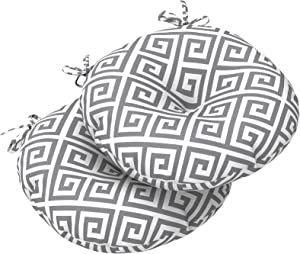 """LVTXIII Outdoor All Weather Bistro Seat Cushions, Comfortable Fluffy Tufted Patio Chair Cushions Round 17""""x17""""x5"""" Set of 2 for Home Garden Furniture, MagMaze Grey"""