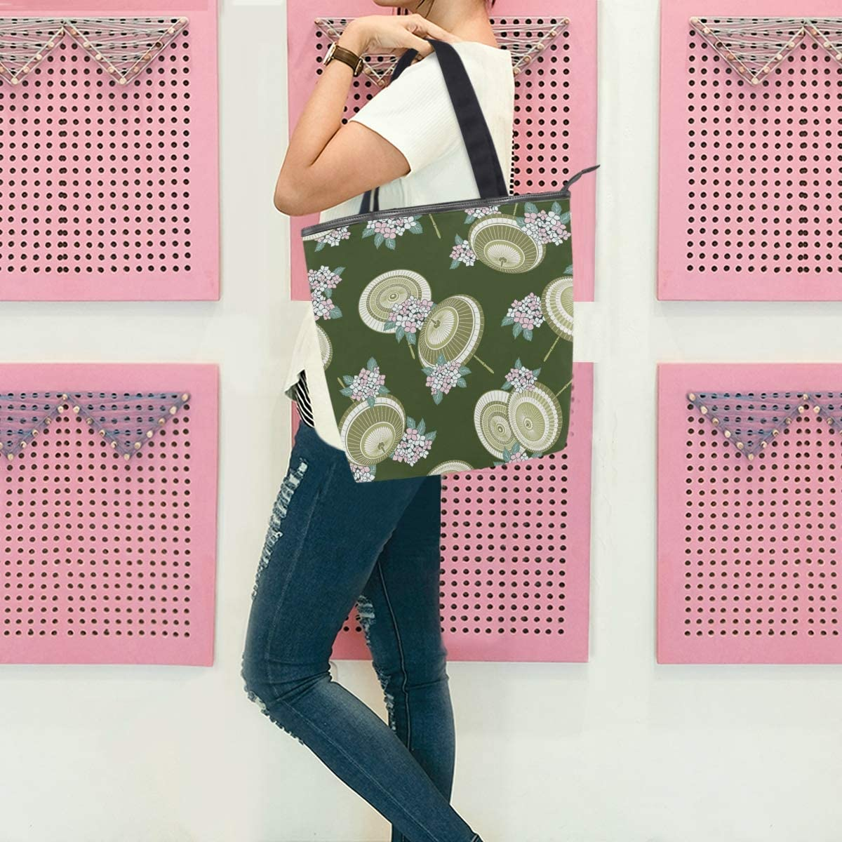 Flower Umbrella Green Womens Large Lightweight Tote Bag Shoulder Bag for Gym Hiking Picnic Travel Beach Shopping Tote Bags 11/×4/×13.6 in
