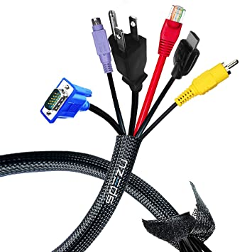 Amazon.com: SPEZU Cable Management Sleeve - Velcro Cord Organizer ...