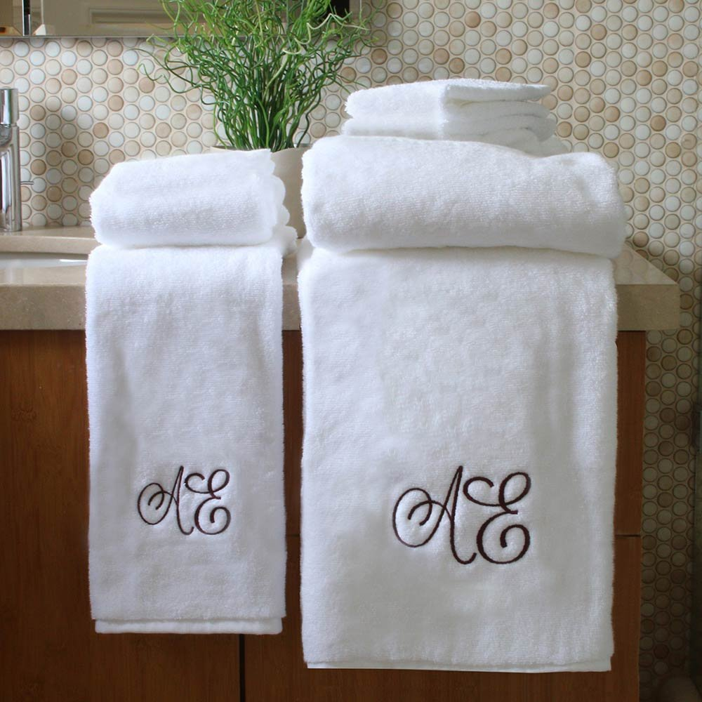 Personalized Monogrammed Decorative Bath Linens for Home, Office, and Gifts. Hotel Collection 100% USA Made 6-Piece Towel Set - White - 2 Bath, 2 Hand & 2 Wash Towels. Luxurious Boutique Towels.