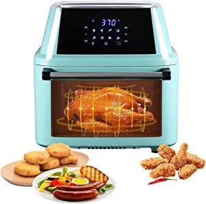 Large Air Fryer For Family Use, 16.9QT Oil Free Electric Airfryer, 1800W Hot Oven Cooker, Dehydrator Combo, 8 Cooking Presets, LED Digital Touchscreen, All-in-One Air Fryer Toaster Oven (Mint Green)