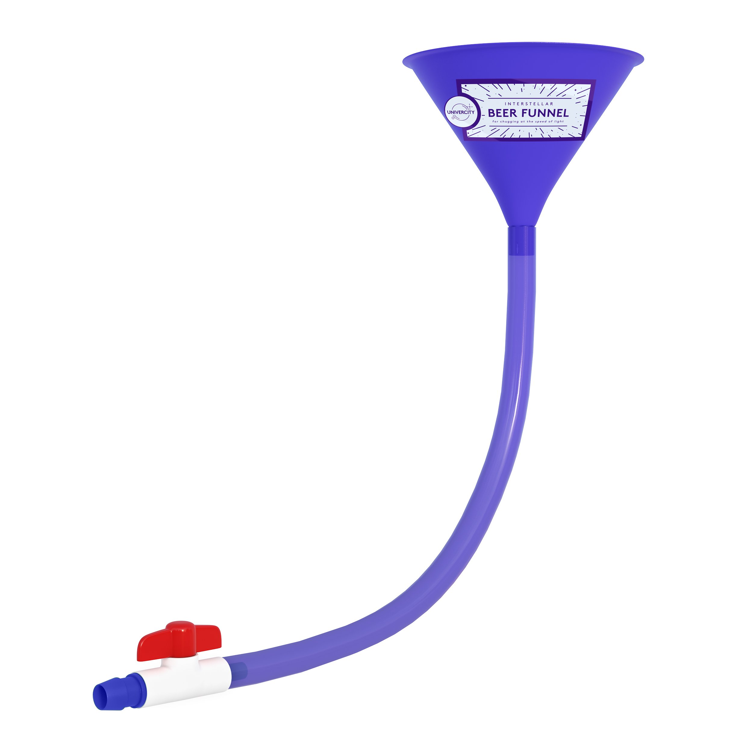Beer Bong with Valve - Best Beer Funnel for College Parties - 2 Foot Blue Beer Bong - by Univercity by Univercity